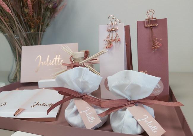 Juliette op collectiepapier pinkblush