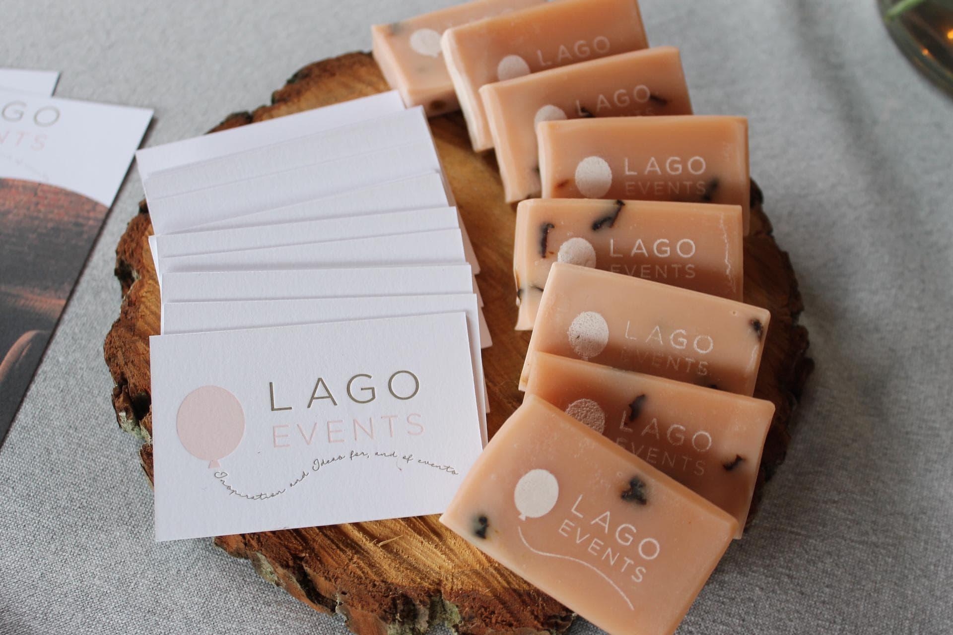 Visitekaartjes en logo voor Lago Events