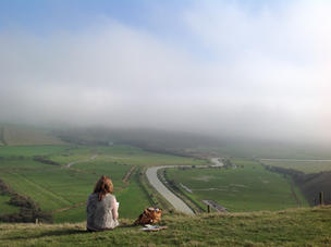 Sketching at White Horse in Cuckmere Val