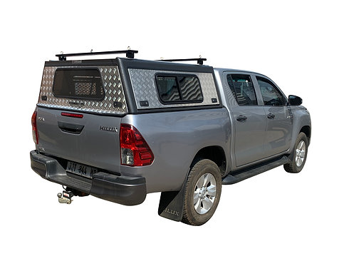 Entry Level Plus Hilux Revo DC Canopy + Load Bars + Windows - GZ Aluminium Cano
