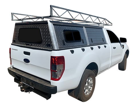 Entry Level Single Cab Canopy With Rack & Side Windows - GZ Aluminium Canopies