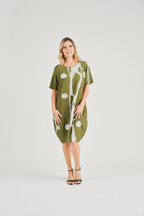 Rayon Crinkle Print Dress