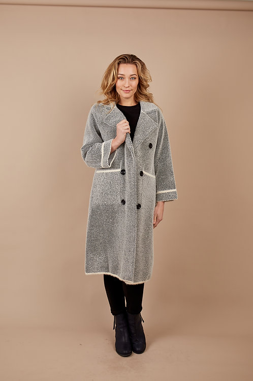 Coat - Double Breasted Oversized Knit