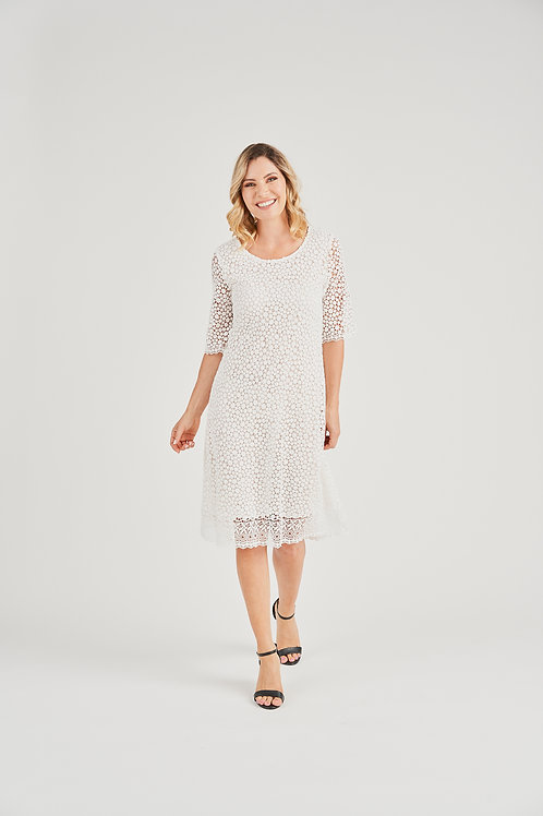 Woven Lace 3/4 Sleeve Dress