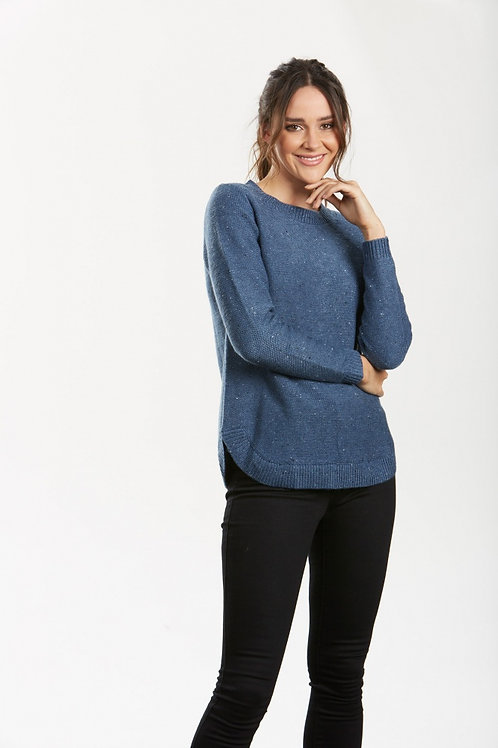 Curved Hem Pullover - NAVY MARLE
