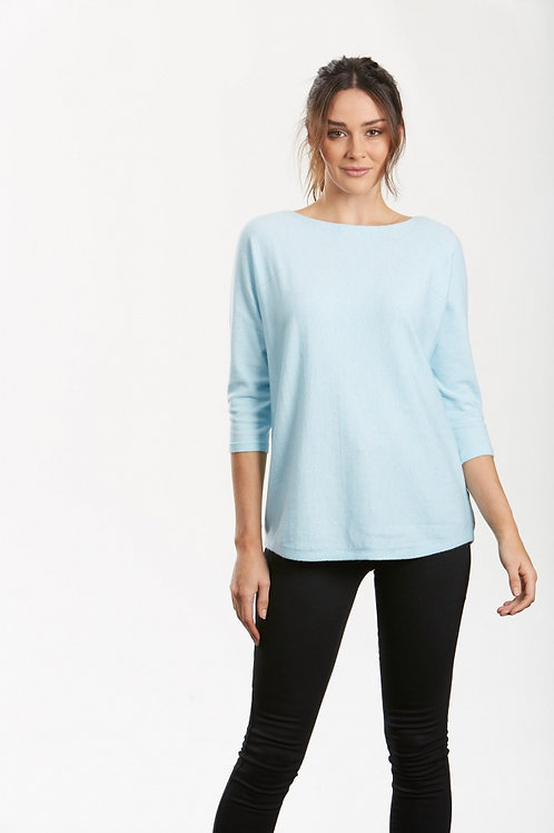 3/4 Sleeve Boat Neck Pullover
