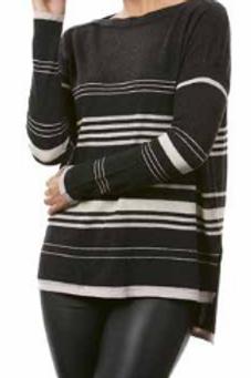 Boat Neck Stripe Pullover