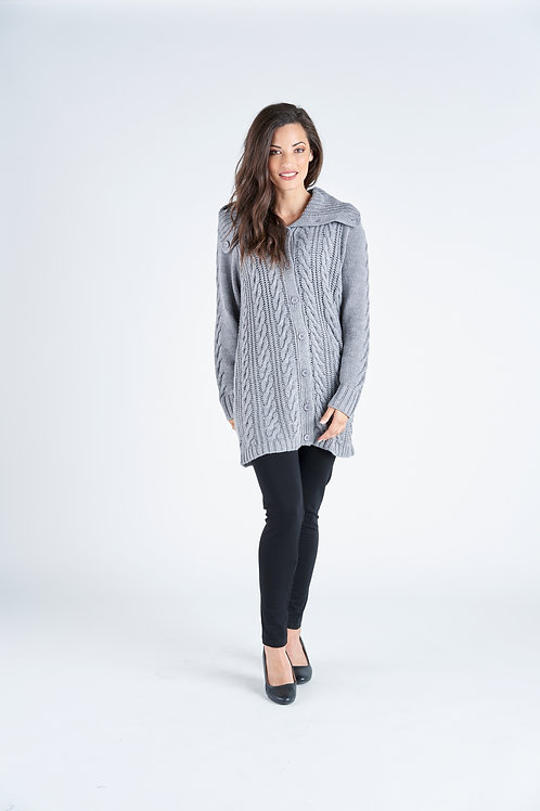 Longline Cable Knit Button Through Collared Cardi