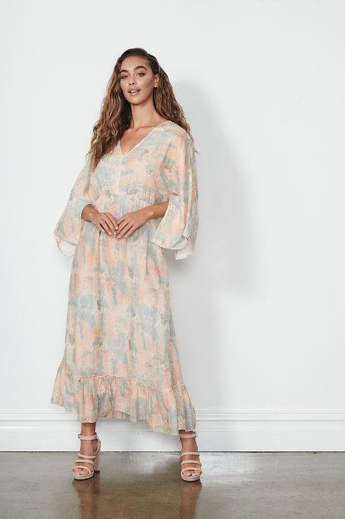 Maxi Dress - Printed W/Split Sleeves