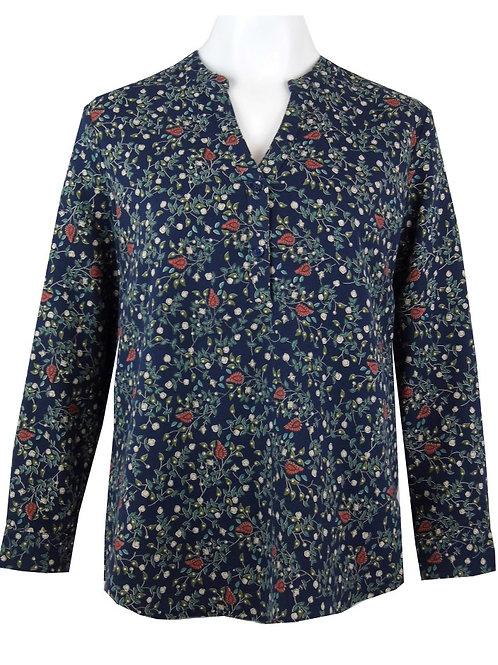 V Neck Mandarin Collar Print Tunic