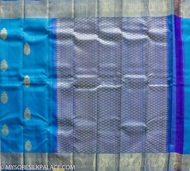 MSP Blue Pure Handloom Silk Saree
