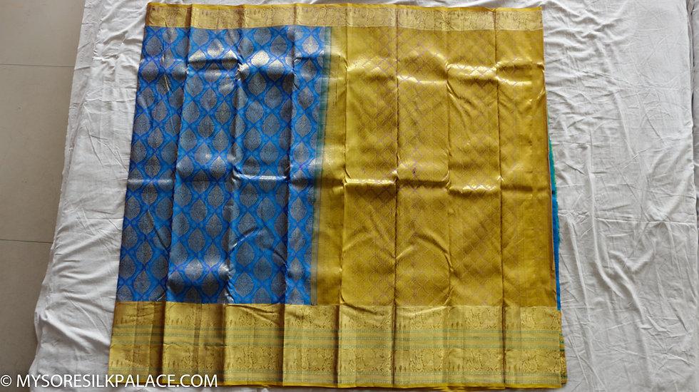 MSP Blue and Yellow Pure Handloom Silk Saree