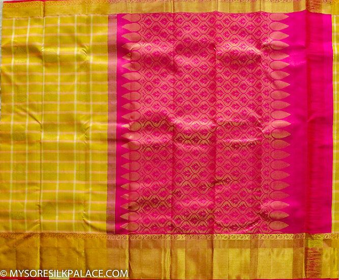 MSP Pink and Yellow Pure Silk Saree