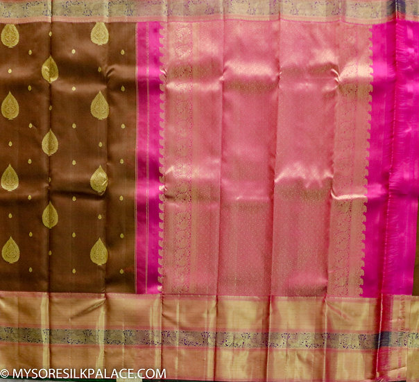 MSP Pink and Brown Pure Silk Saree