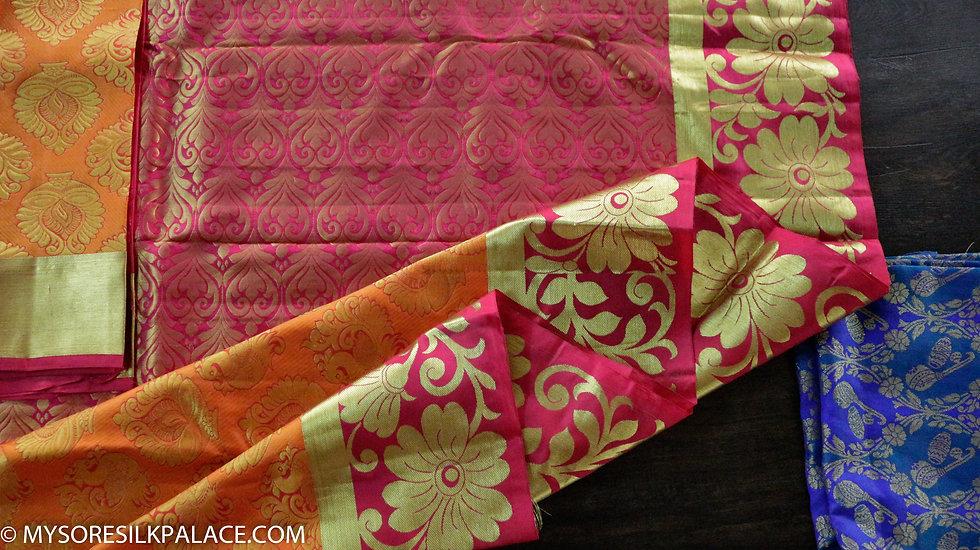 MSP Red and Orange Pure Handloom Silk Saree