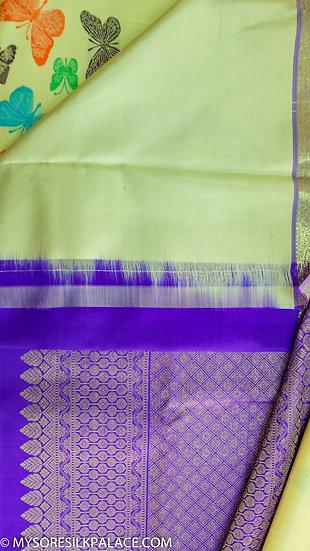MSP Green and Blue Pure Silk Saree