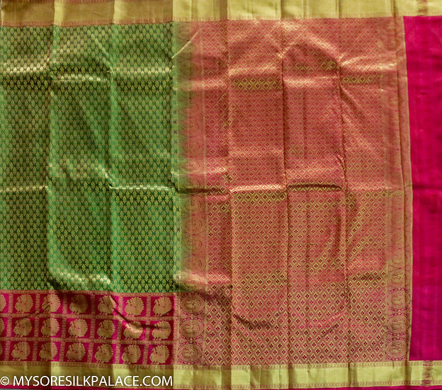 MSP Green and Red Pure Handloom Silk Saree
