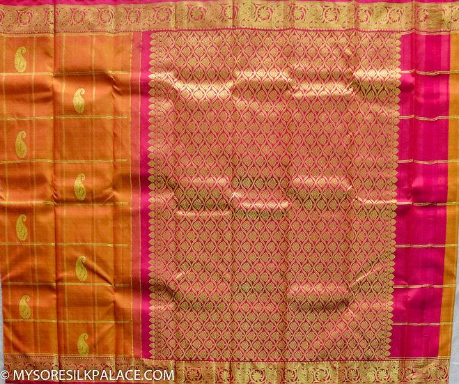 MSP Orange Pure Silk Saree