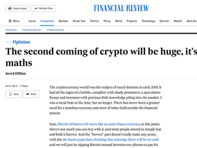 Australian Financial Review getting up-to-speed with Bitcoin