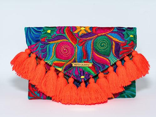 Frida Clutch [Neon Orange + Peacock Teal]