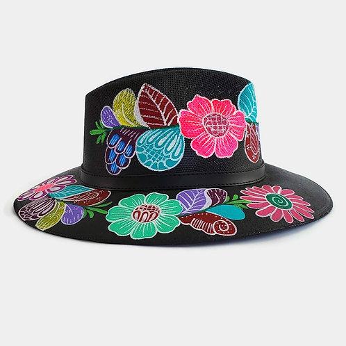 Salma Hat - Black Floral [Side]