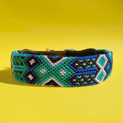 YO'ON Blue Sea- [Artisanal Handwoven Leather Dog Collar] XL