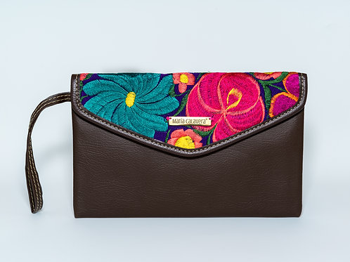 Amorcito Clutch [Brown + Turquoise + Pink]
