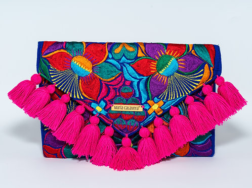 Frida Clutch [Magenta + Navy Blue]