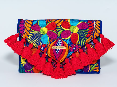 Frida Clutch [Red + Navy Blue]