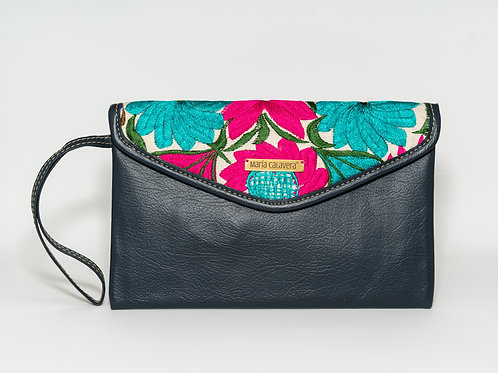 Amorcito Clutch [Dark Gray + Turquoise + Pink]