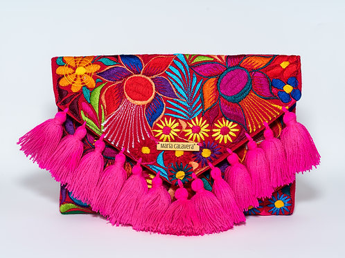 Frida Clutch [ Hot Pink + Red]
