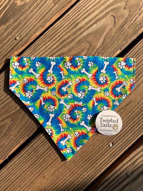 Tye-Dye pawprints bandana or bowtie
