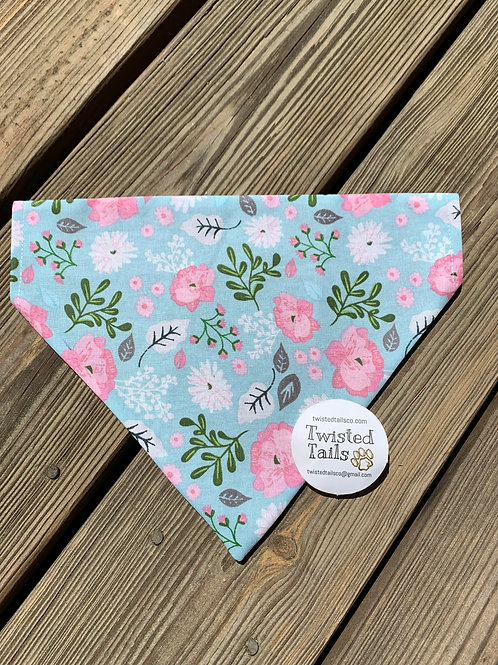Pink Flowers Bandana or Bowtie