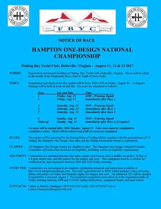 HOD Nationals at Fishing Bay YC, August 11-13