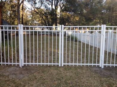 Waterfront Style White Aluminum Fence