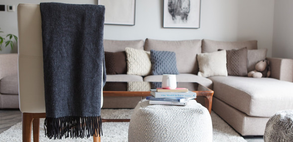 Woven throw and knit pillows