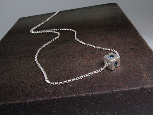 Cube Pendant With Blue Sapphire In Sterling Silver