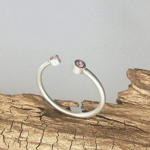 Open Cuff Ring With Pink Sapphire