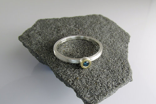 Solitaire Teal Blue Diamond Ring In Gold And Silver