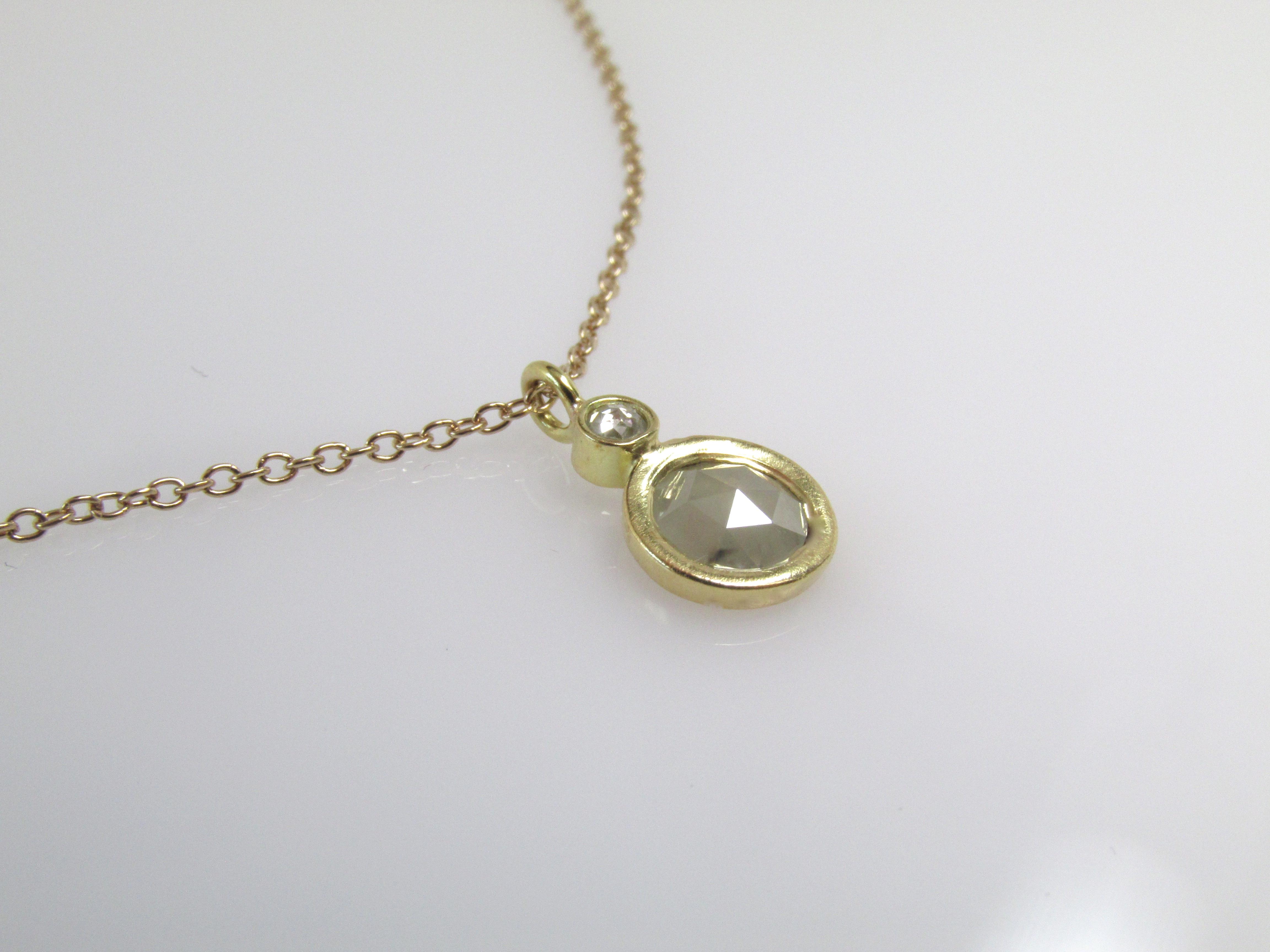 Rose + Brilliant Cut Diamond Pendant