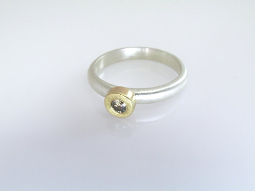 Gold And Sterling Silver Solitaire Ring With Brown Diamond