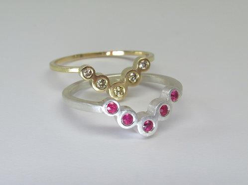 Modern Chevron Ring With Gemstones