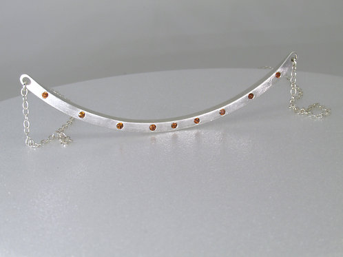 Curved Bar Necklace In Sterling Silver With Cognac Zircons