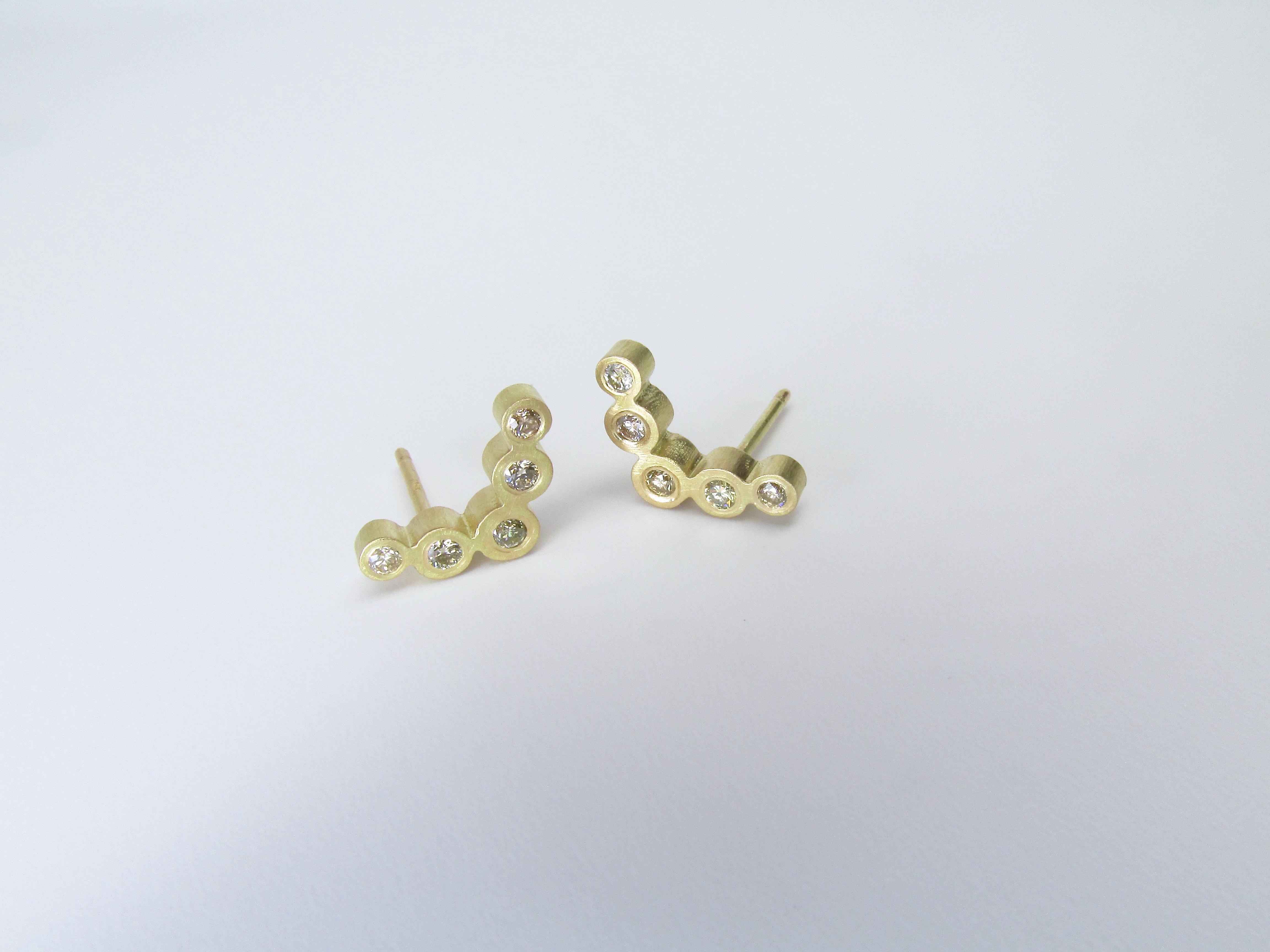 Gold + Diamond Chevron Earrings