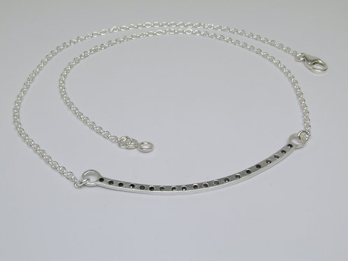 Hammered Curved Bar Necklace With Black Diamonds