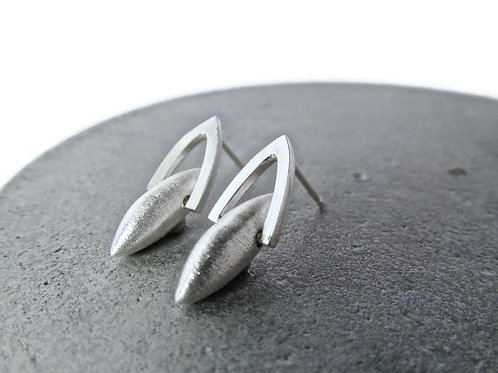 Sterling Silver Pod Earrings Hinged in Gothic Arches