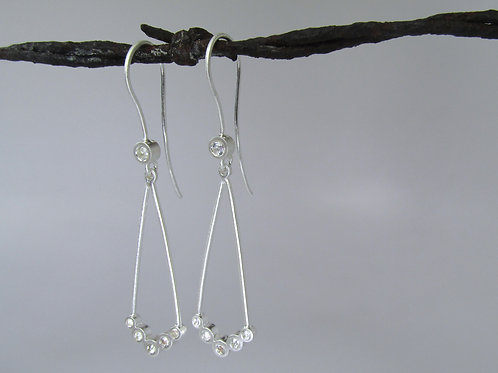 Chevron Chandelier Earrings With White Sapphires