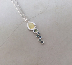 Opal + Bi-Colored Sapphire Pendant