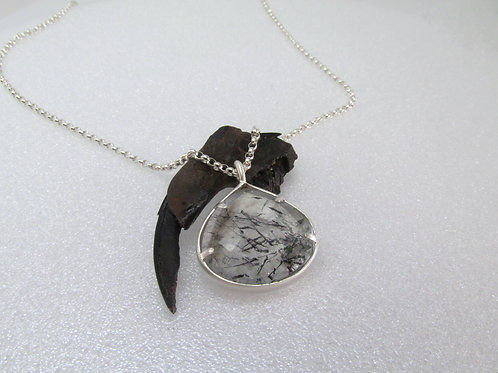 Pear Shaped Tourmalinated Quartz Pendant In Sterling Silver