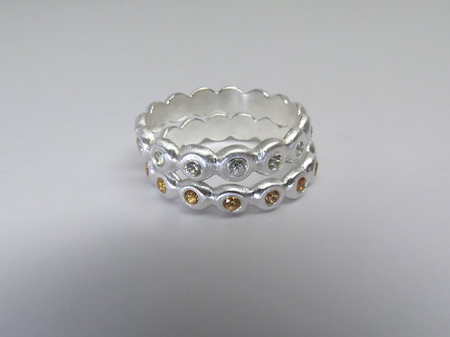 Hammered Eternity Ring With Sapphires